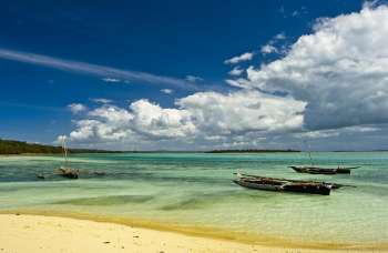 Three fishing boats at northern Zanzibar coast